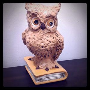 Huge Vintage Ceramic Owl Sitting on a Book🦉